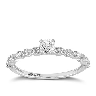 9ct White Gold 1/4ct Diamond Marquise Shoulder Ring - Product number 2354438
