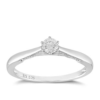 9ct White Gold 1/4ct Claw Set Solitaire Diamond Ring - Product number 2355914
