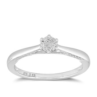 9ct White Gold 1/3ct Claw Set Solitaire Diamond Ring - Product number 2356104