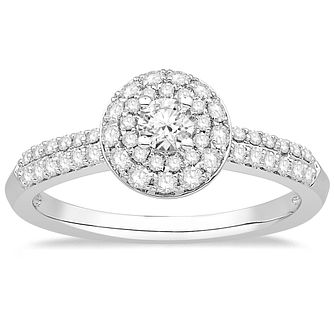 9ct White Gold 1/2ct Diamond Round Halo Ring - Product number 2357658