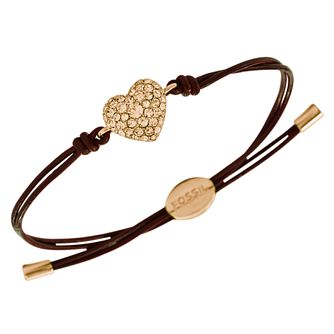 Fossil ladies' brown leather crystal heart bracelet - Product number 2363259