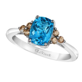 14ct Vanilla Gold Ocean Blue Topaz & Diamond Ring - Product number 2368935