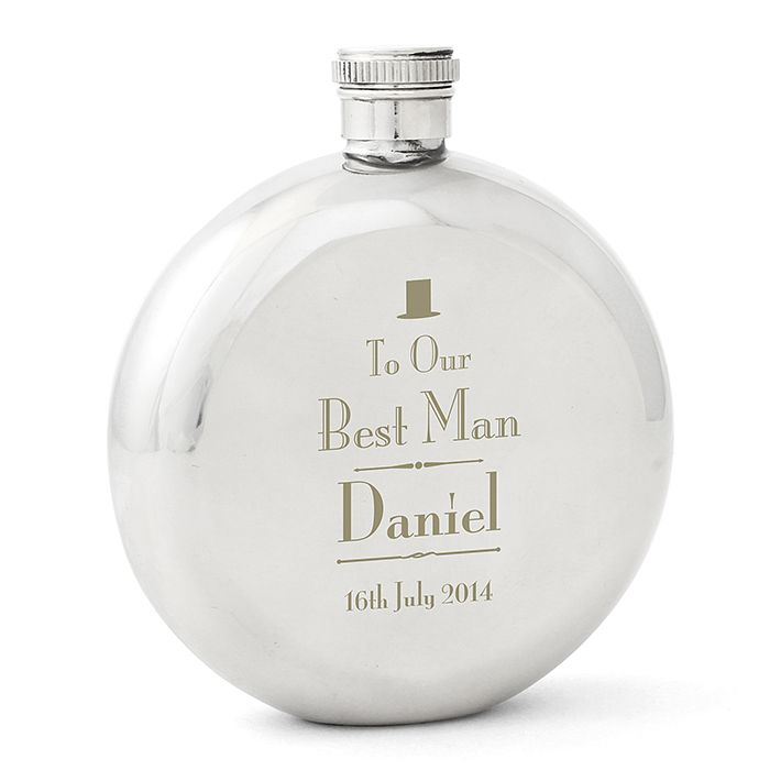 Decorative Wedding Best Man Round Hip Flask - Product number 2391899