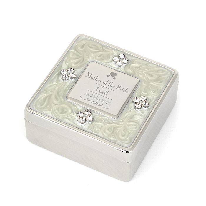 Decorative Mother of the Bride Square Diamante Trinket Box - Product number 2392216