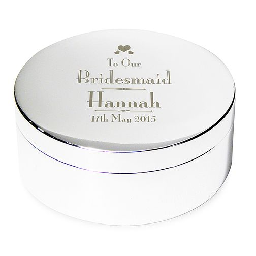 Decorative Wedding Bridesmaid Round Trinket Box - Product number 2393735