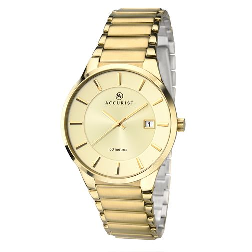 Accurist Men's Gold Plated Champagne Dial Bracelet Watch - Product number 2399881
