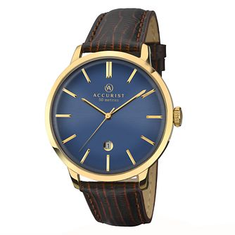 Accurist Men's Blue Dial Brown Leather Strap Watch - Product number 2399911