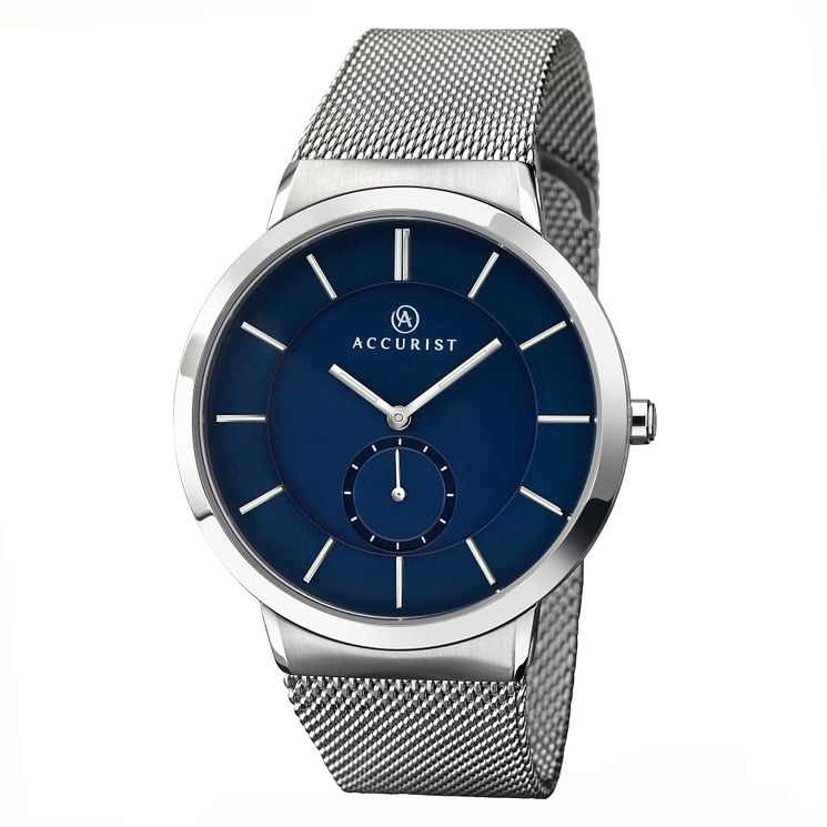 Accurist Men's Stainless Steel Blue Dial Bracelet Watch - Product number 2399954