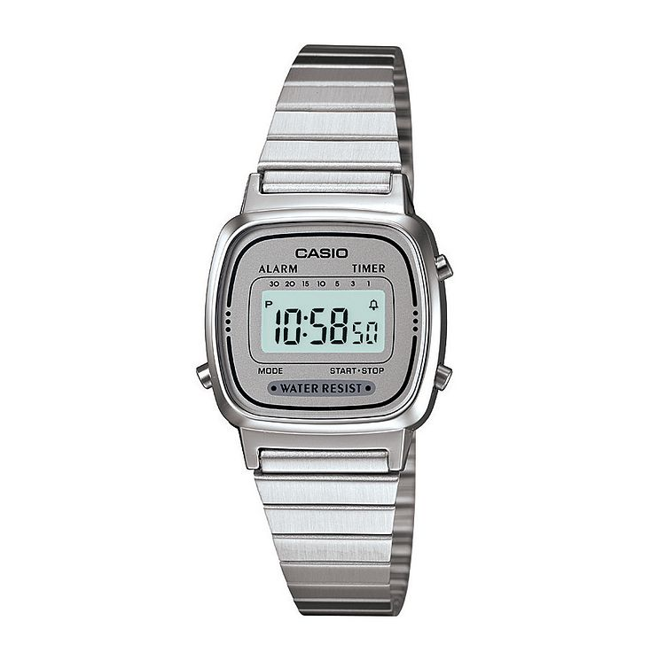 Casio Ladies' Mini Stainless Steel Grey Dial Digital Watch - Product number 2401037