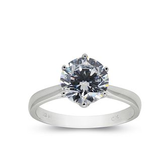 CARAT* LONDON 9ct white gold solitaire ring size K - Product number 2405628