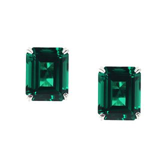 CARAT* 9ct white gold created emerald stud earrings - Product number 2405881