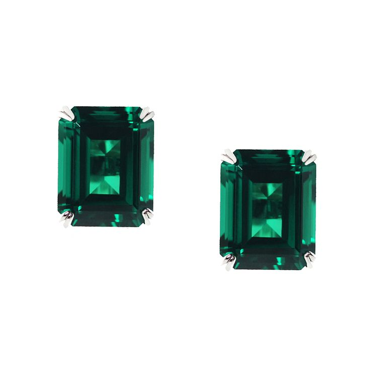 CARAT* 9ct white gold created emerald stud earrings