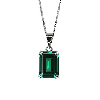 CARAT* LONDON 9ct white gold created emerald pendant - Product number 2405903