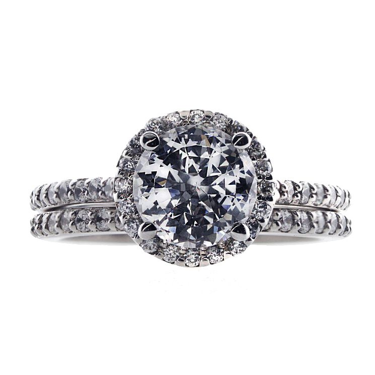 CARAT* 9ct white gold stone set pave ring size K - Product number 2406039