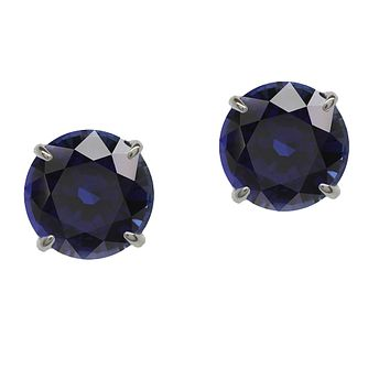 CARAT* LONDON 9ct white gold created sapphire stud earrings - Product number 2406284