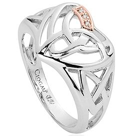 Clogau Silver & 9ct Rose Diamond Eternal Love Ring - Product number 2491605