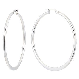9ct white gold large tapered creole earrings - Product number 2513579