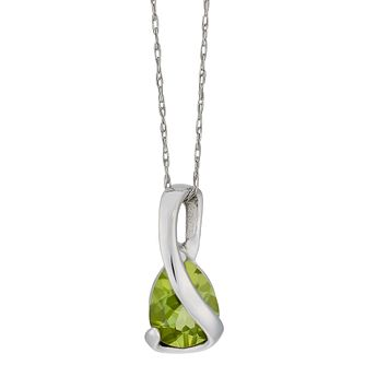 9ct white gold peridot wrap pendant - Product number 2532581