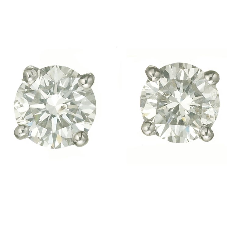 18ct white gold one carat diamond G-H SI1 stud earrings - Product number 2541874