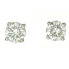 18ct white gold one carat diamond F-G VS2 stud earrings - Product number 2541890