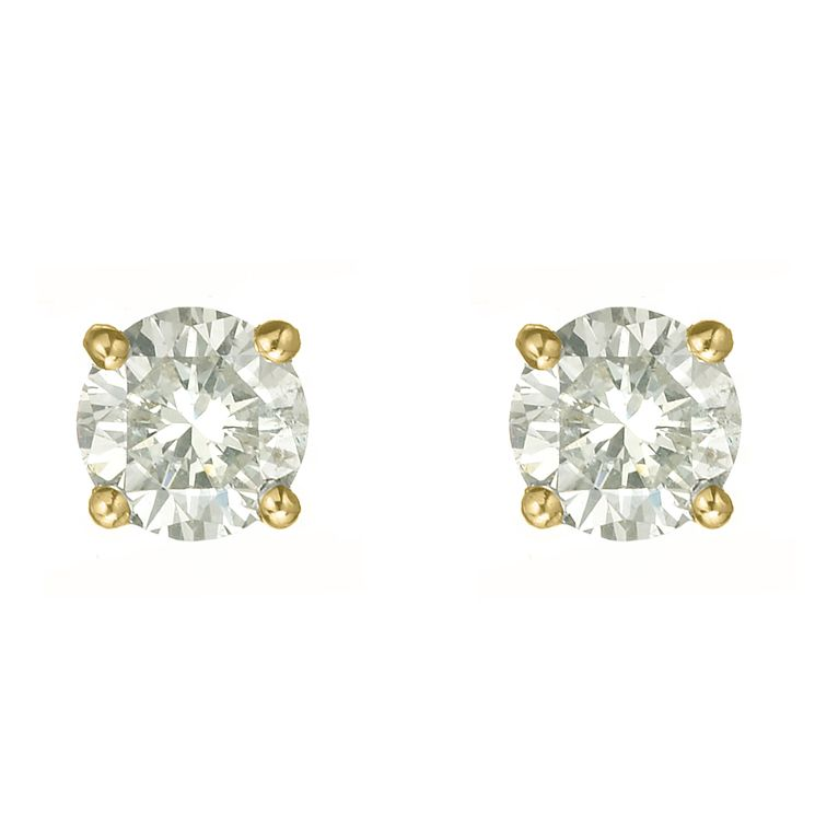 18ct yellow gold one carat diamond H-I P1 stud earrings - Product number 2542234