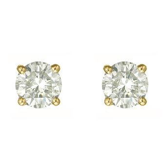 18ct yellow gold one carat diamond H-I SI2 stud earrings - Product number 2542242