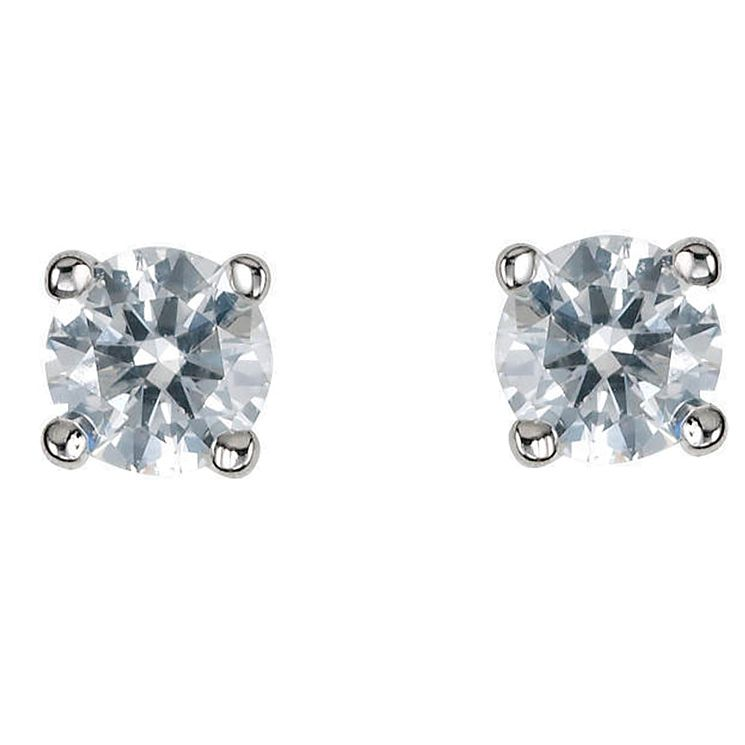 Platinum third carat diamond H-I P1 solitaire earrings - Product number 2542315