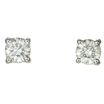 Platinum two thirds of a carat diamond G-H SI1 stud earrings - Product number 2542374