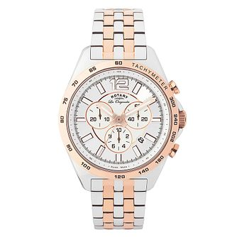 Rotary Men's Two Tone Rose Gold Plate & Steel Watch - Product number 2548690