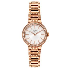 Rotary Ladies' Rose Gold Plated Stone Set Watch - Product number 2549166