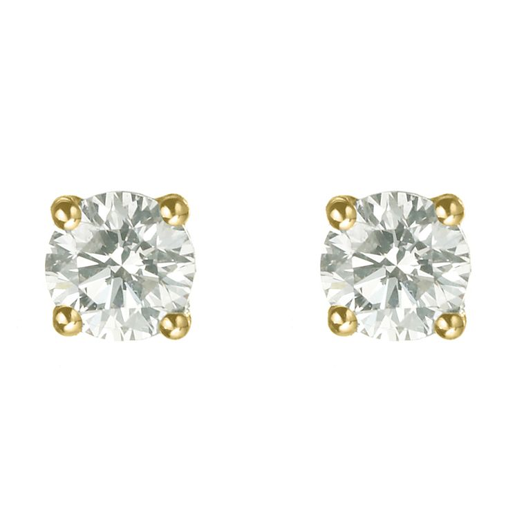 18ct yellow gold 3/4 carat diamond H-J I2 stud earrings - Product number 2549727