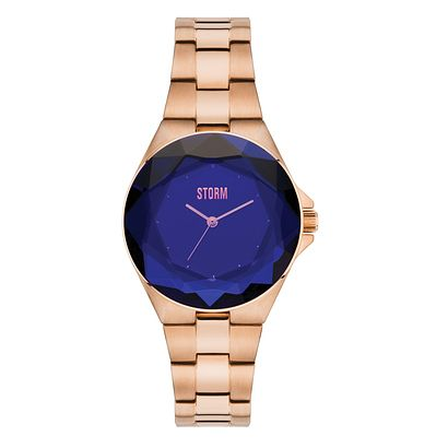 STORM Ladies' Crystana Blue Dial Rose Gold Plated Watch - Product number 2553600
