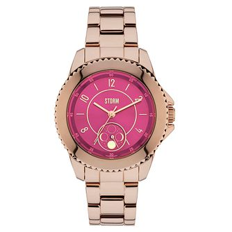 STORM Ladies' Zirona Magenta Dial Rose Gold Plated Watch - Product number 2553708