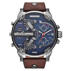 Diesel Mr Daddy Men's Brown Leather Strap Watch - Product number 2599309