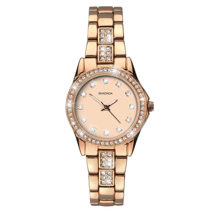 Sekonda La s Stone Set Rose Gold Plated Bracelet Watch