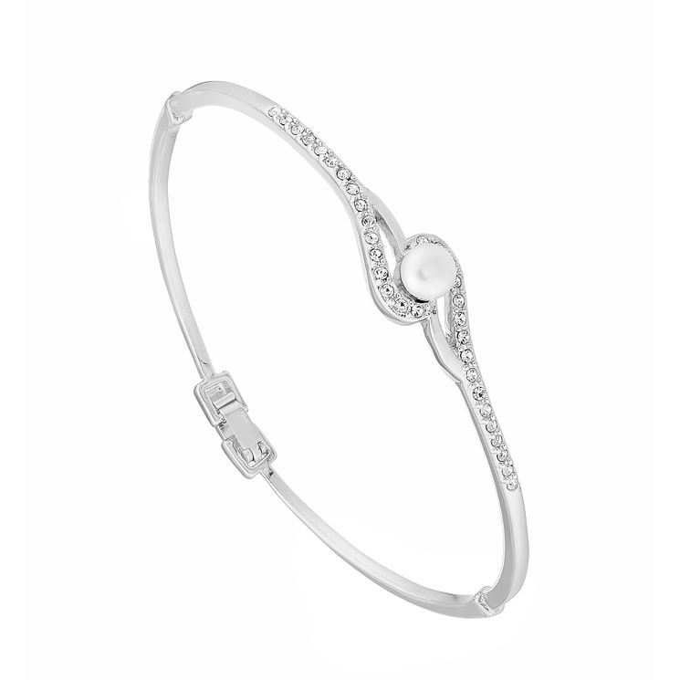Pearl And Crystal Set Wave Design Bangle - Product number 2604795