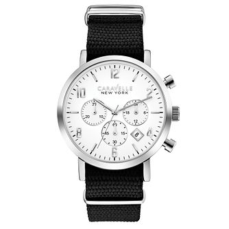 Caravelle New York Men's Black Fabric Strap Watch - Product number 2605767