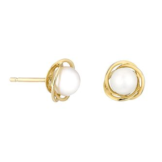9ct Yellow Gold & Pearl Knot Design Stud Earrings - Product number 2605821