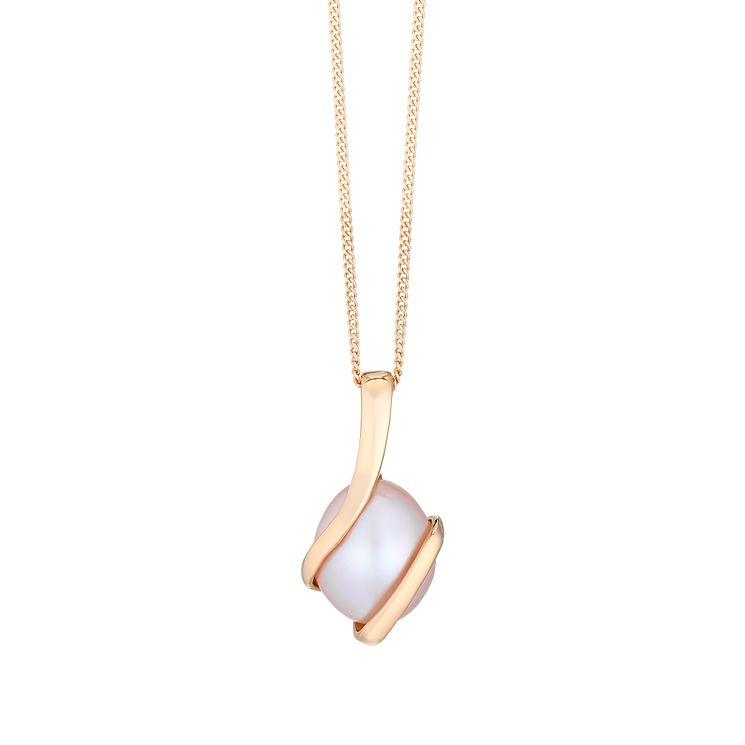 9ct Rose Gold & Freshwater Pearl Wrap Pendant - Product number 2605899