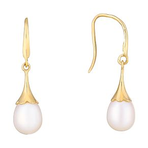 9ct Yellow Gold Pearl Flute Drop Earrings - Product number 2605953