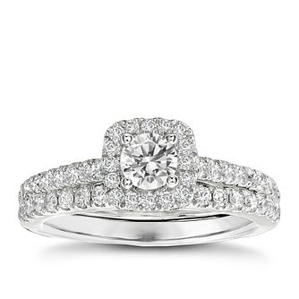 Vera Wang 18ct white gold 95pt diamond halo bridal set - Product number 2606259