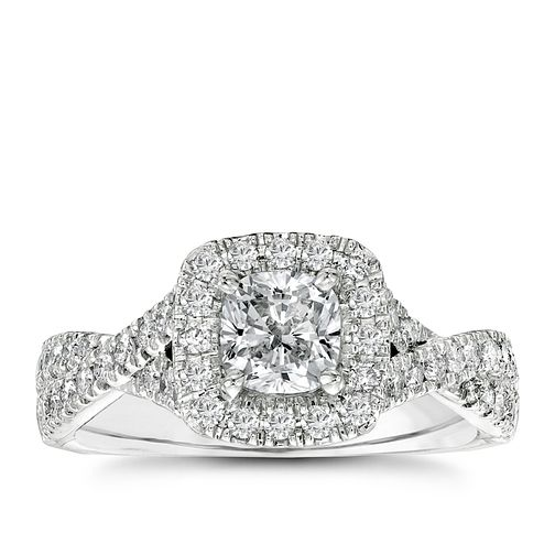 Vera Wang 18ct white gold 1.3 carat diamond halo ring - Product number 2606526