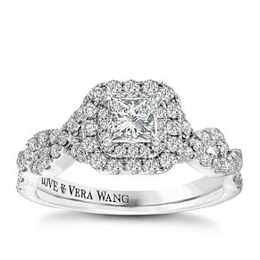 Vera Wang 18ct white gold 95pt diamond double halo ring - Product number 2606658