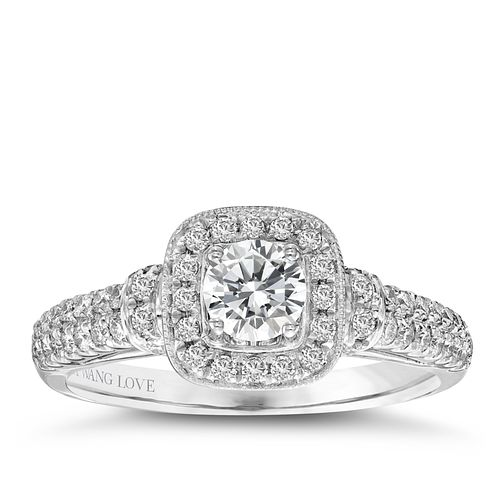 Vera Wang 18ct white gold 70pt diamond cushion halo ring - Product number 2606917