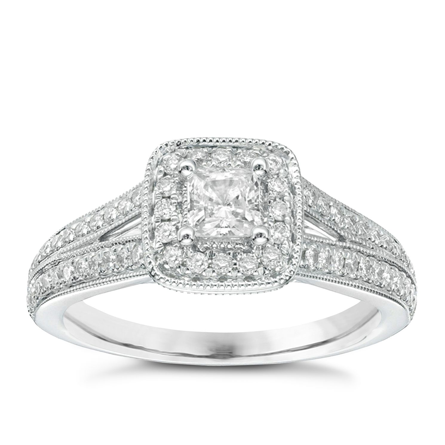 vera wang 18ct white gold 70pt diamond cushion halo ring product number 2607050 - Vera Wang Wedding Ring
