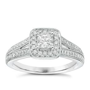 Vera Wang 18ct white gold 70pt diamond cushion halo ring - Product number 2607050