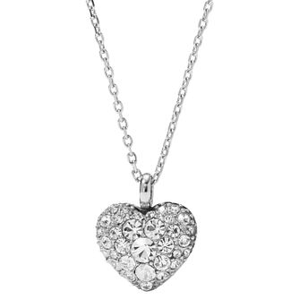 Fossil ladies' stainless steel stone set heart necklace - Product number 2607786
