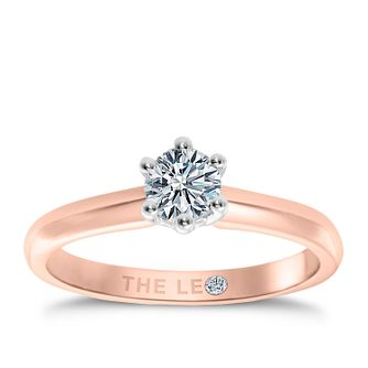 Leo Diamond 18ct Rose Gold 0.88ct I-I1 Solitaire Ring - Product number 2614235