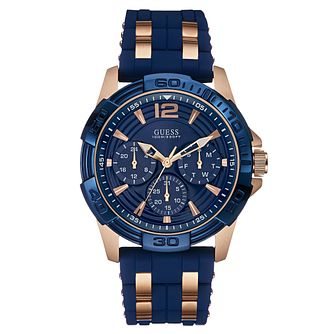 Guess Men's Rose Gold Plated Blue Silicone Watch - Product number 2621606