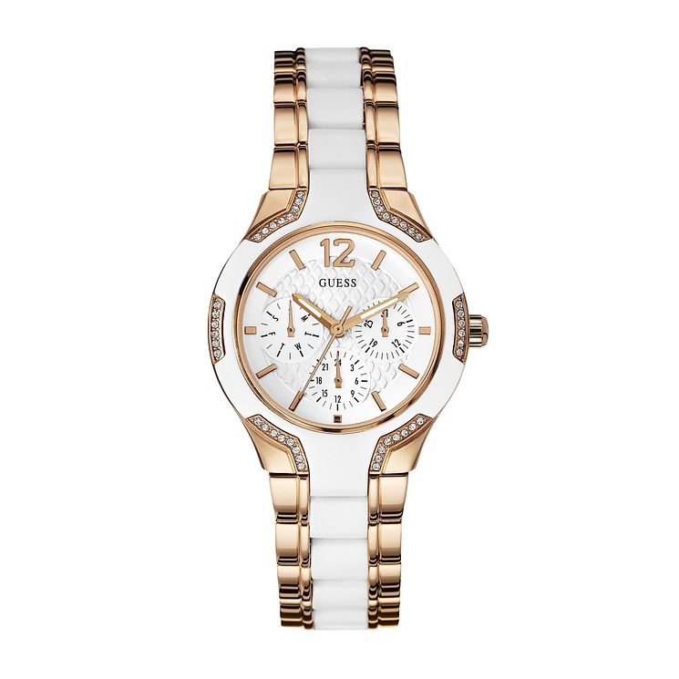 Guess Ladies' White Silicone & Rose Gold Plated Watch - Product number 2621657